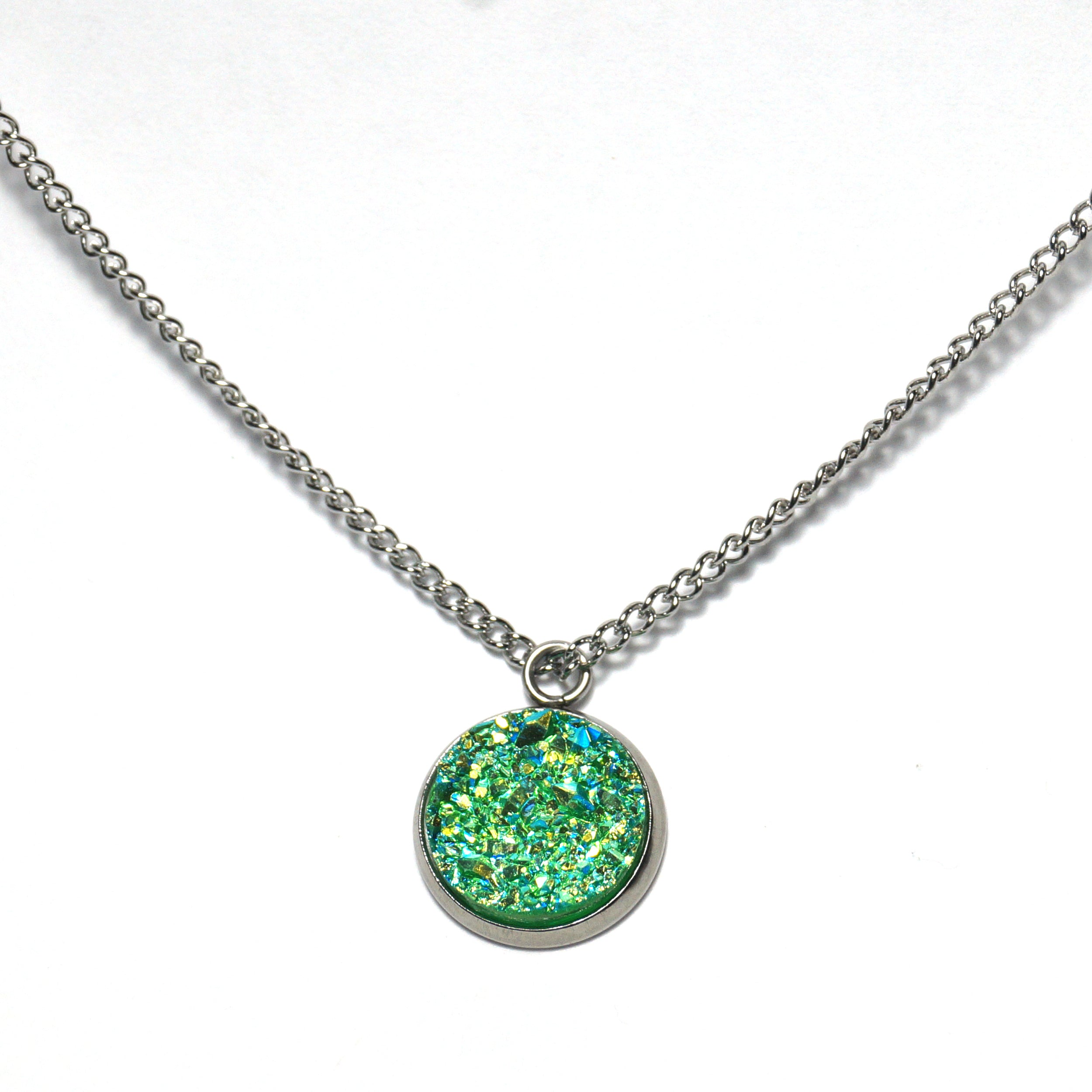 Shop Green Parakeet Druzy Necklace-Jarvi