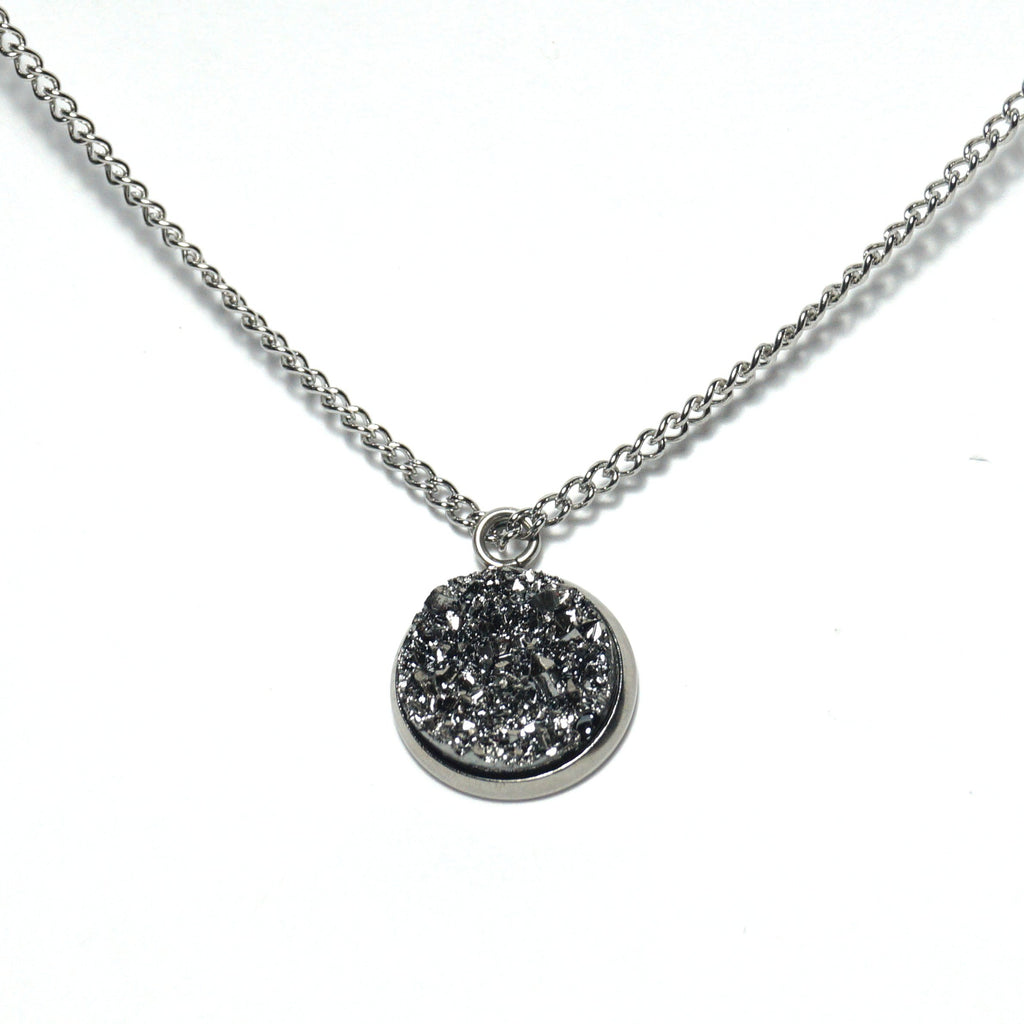 Shop Gray Merlin Druzy Necklace-Jarvi