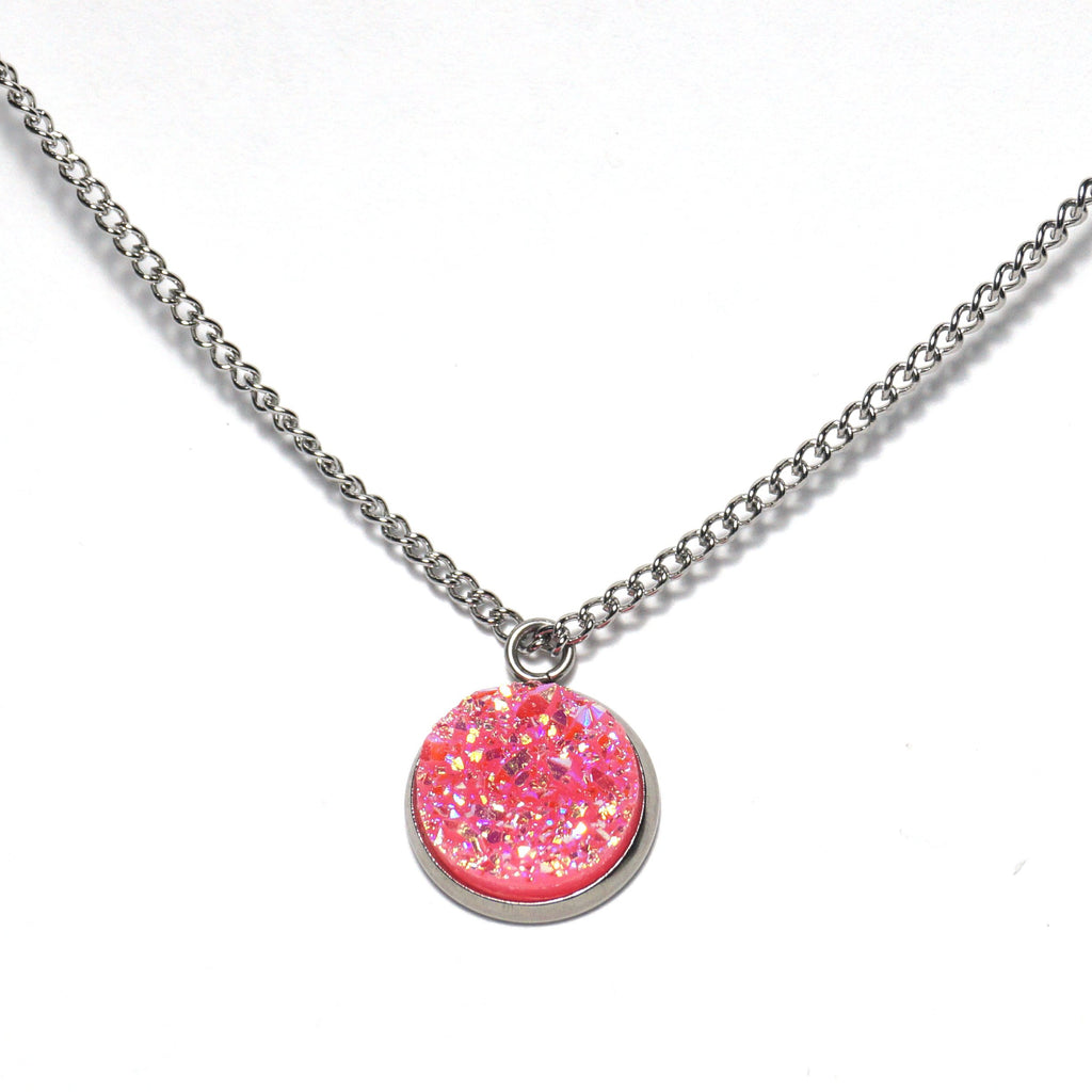 Shop Pink Grosbeak Druzy Necklace-Jarvi