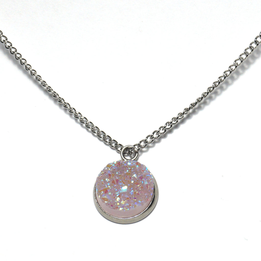Shop Light Pink Druzy Necklace-Jarvi