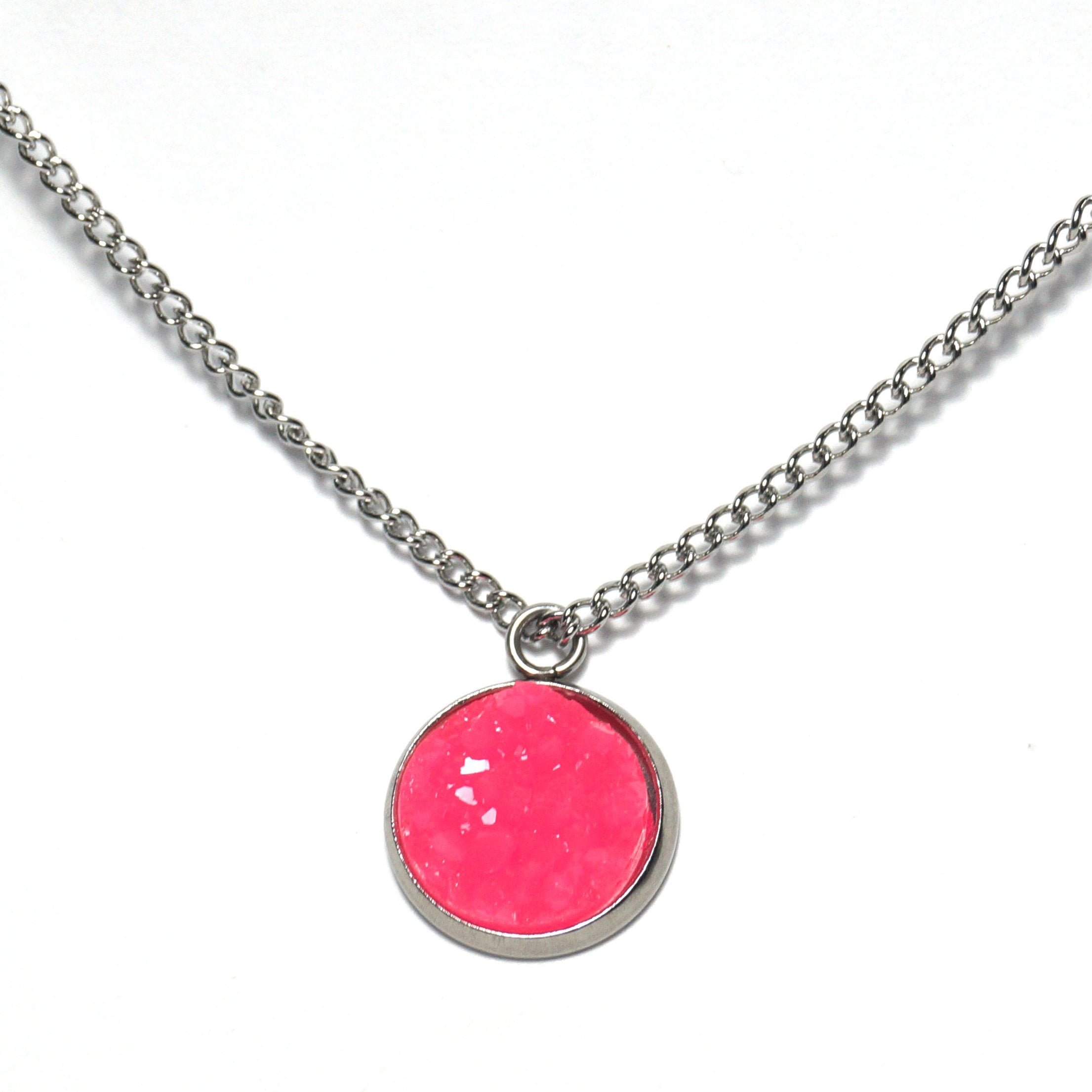Shop Neon Pink Druzy Necklace-Jarvi