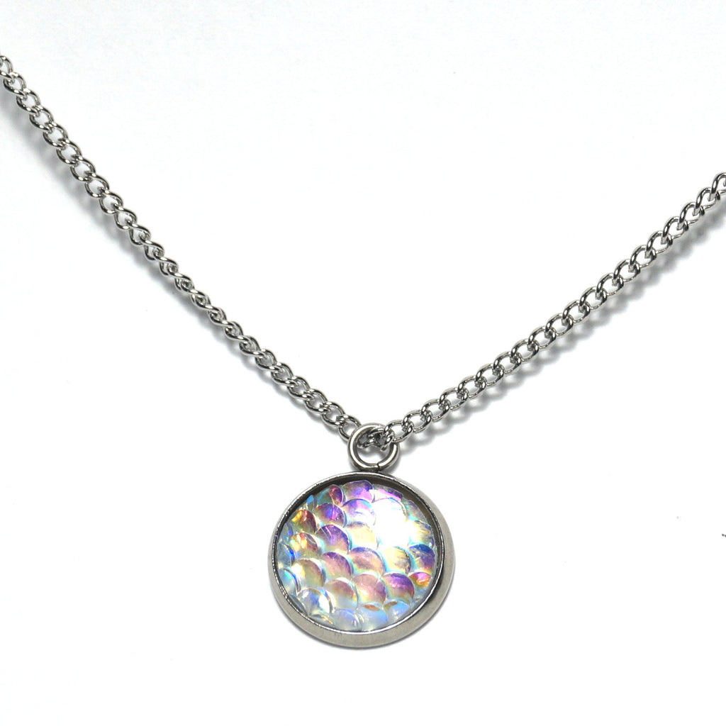 Shop Clear Mermaid Scale Necklace-Jarvi