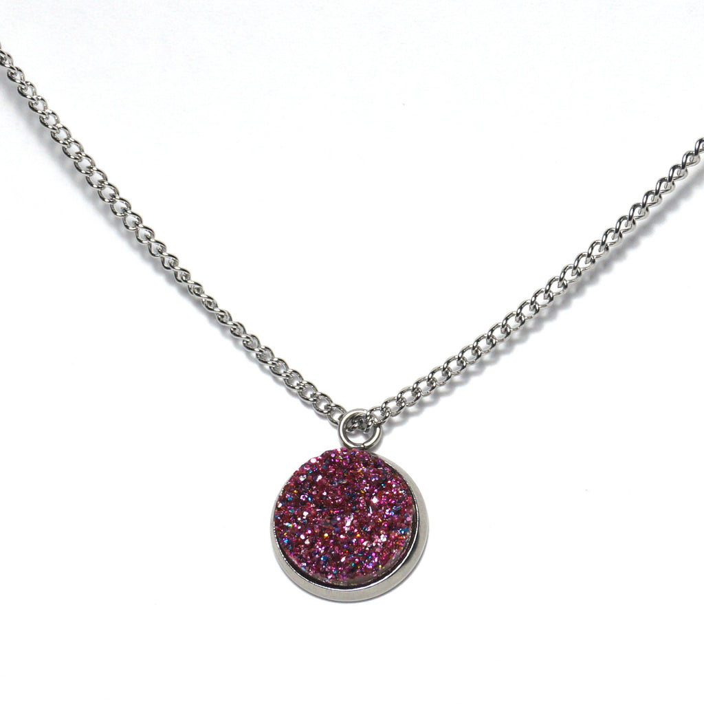 Shop Glittery Purple Druzy Necklace-Jarvi