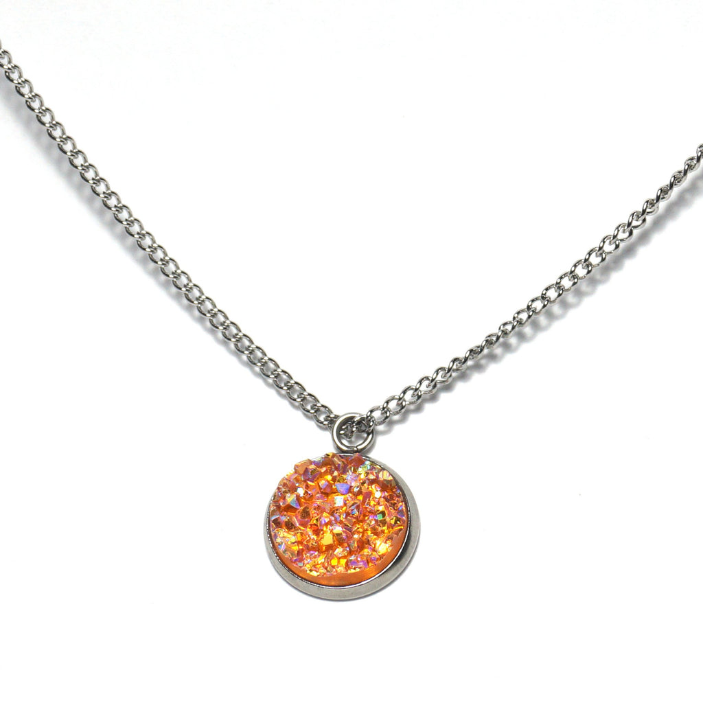 Shop Orange Oriole Druzy Necklace-Jarvi