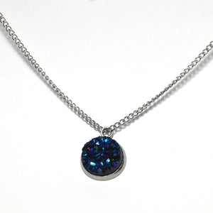 Shop Blue Bunting Druzy Necklace-Jarvi