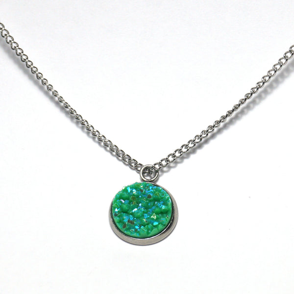 Shop Green Broadbill Druzy Necklace-Jarvi