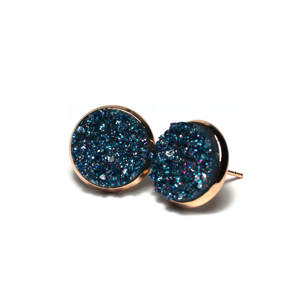 Shop Teal Peafowl Druzy Stud Earrings (14mm)-Jarvi