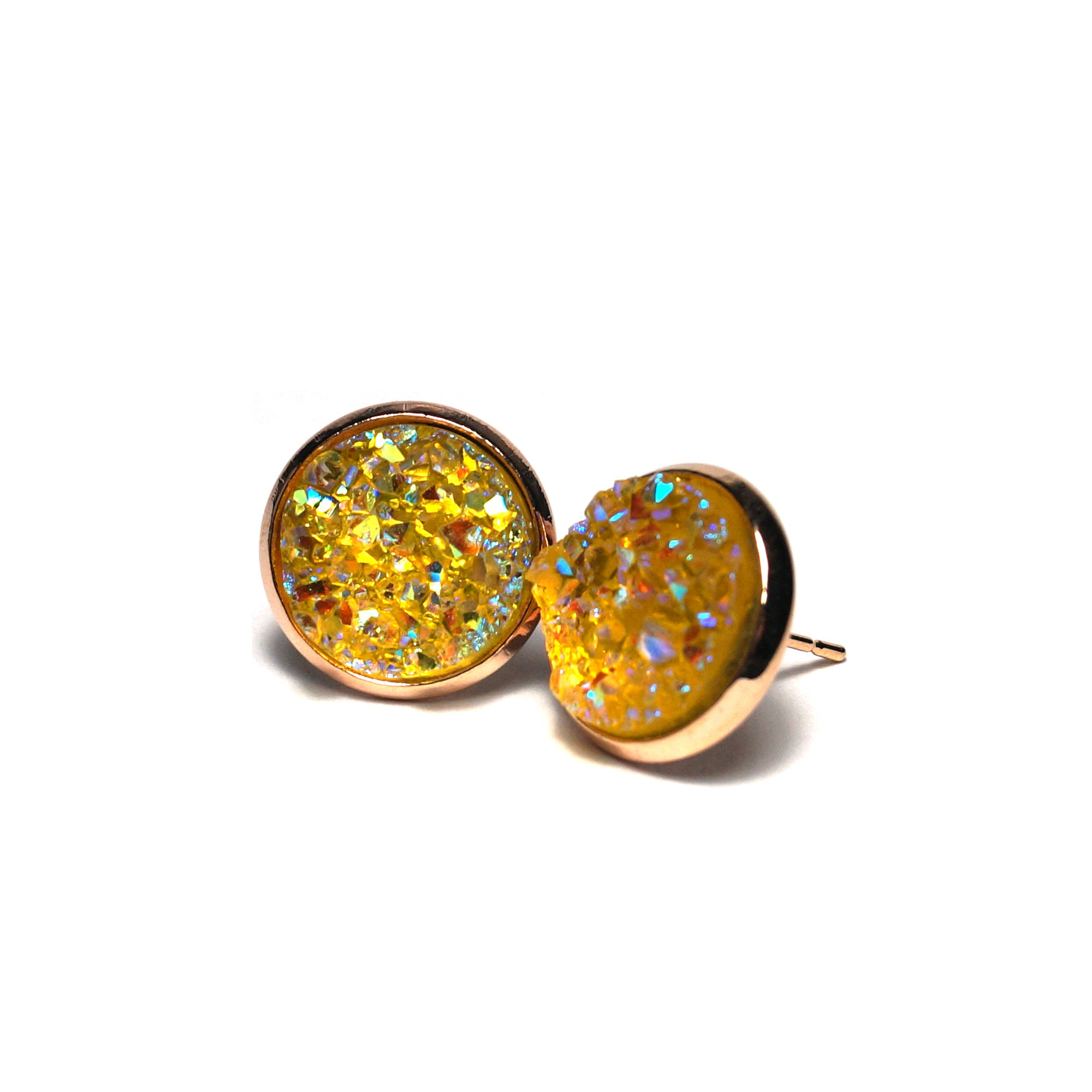 Shop Yellow Rail Druzy Stud Earrings (14mm)-Jarvi