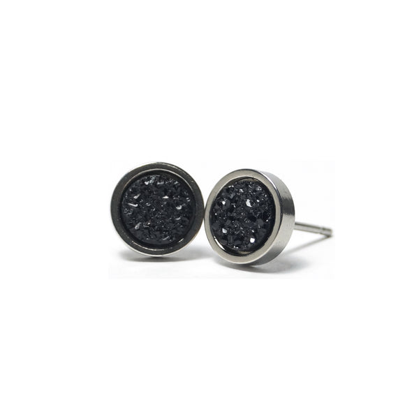 Black Hatchling Stud Earrings (8mm)