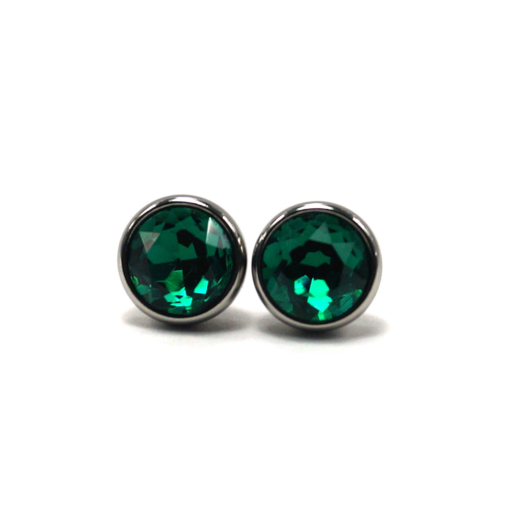 Emerald Birthstone Stud Earrings (10mm)