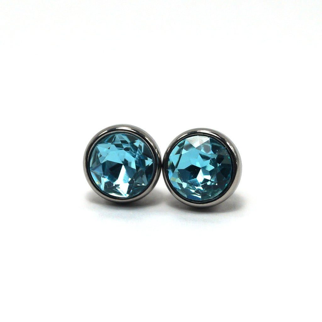 Aquamarine Birthstone Stud Earrings (10mm)