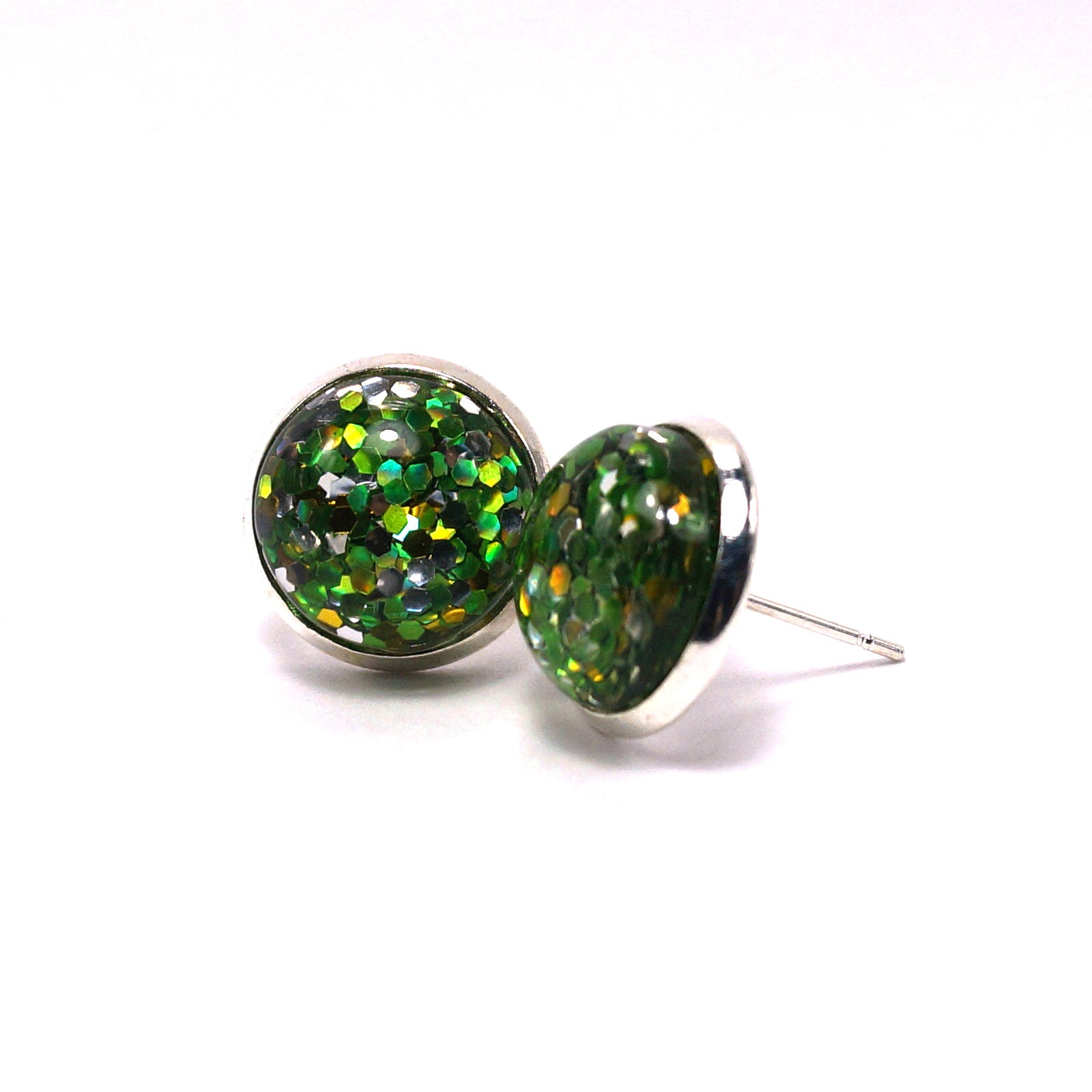 Green Glitter Stud Earrings (14mm)