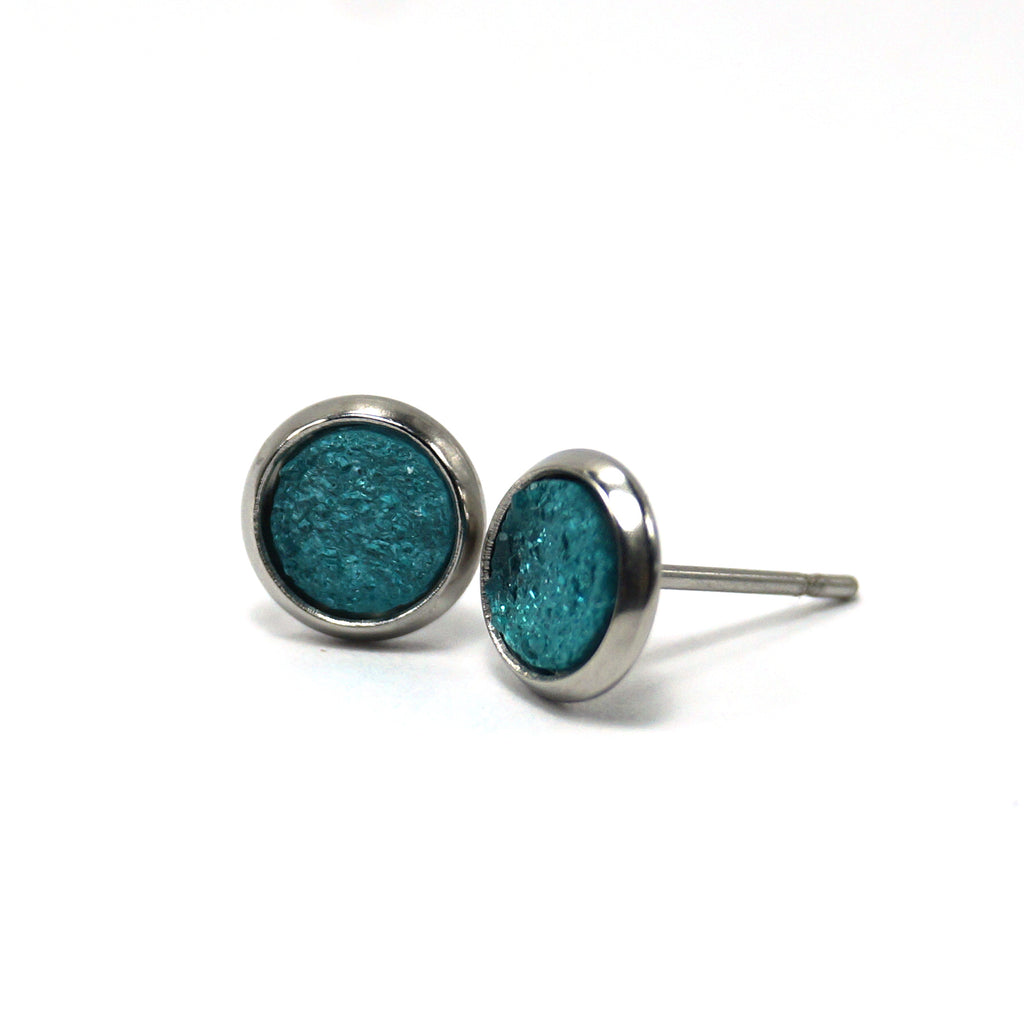 Teal Hatchling Stud Earrings (8mm)