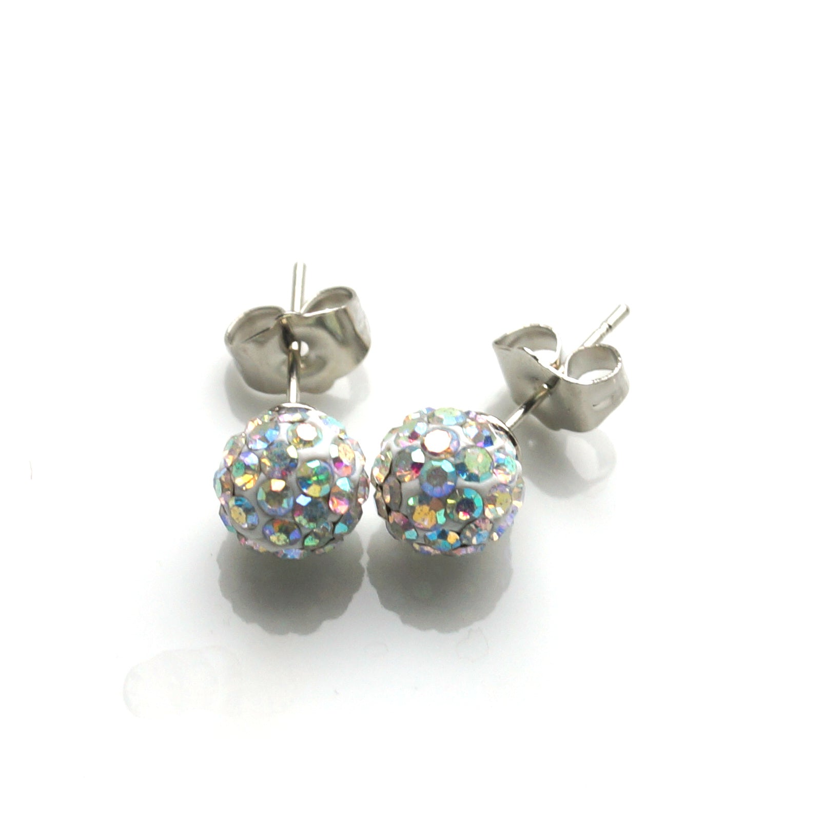 Disco Shimmery Ball Stud Earrings (8mm)