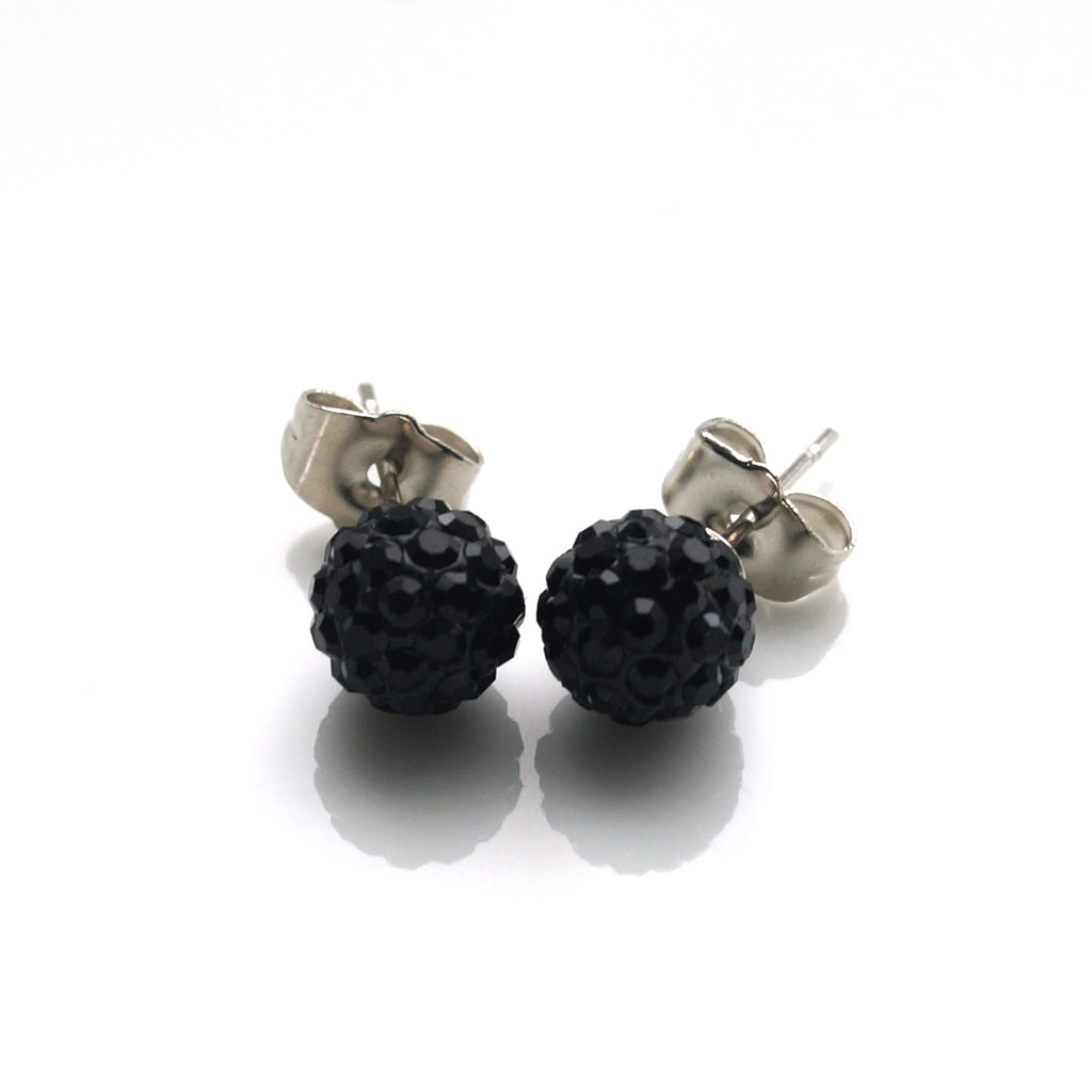 Midnight Shimmery Ball Stud Earrings (8mm)