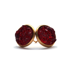 Red Rosella Druzy Stud Earrings (14mm)