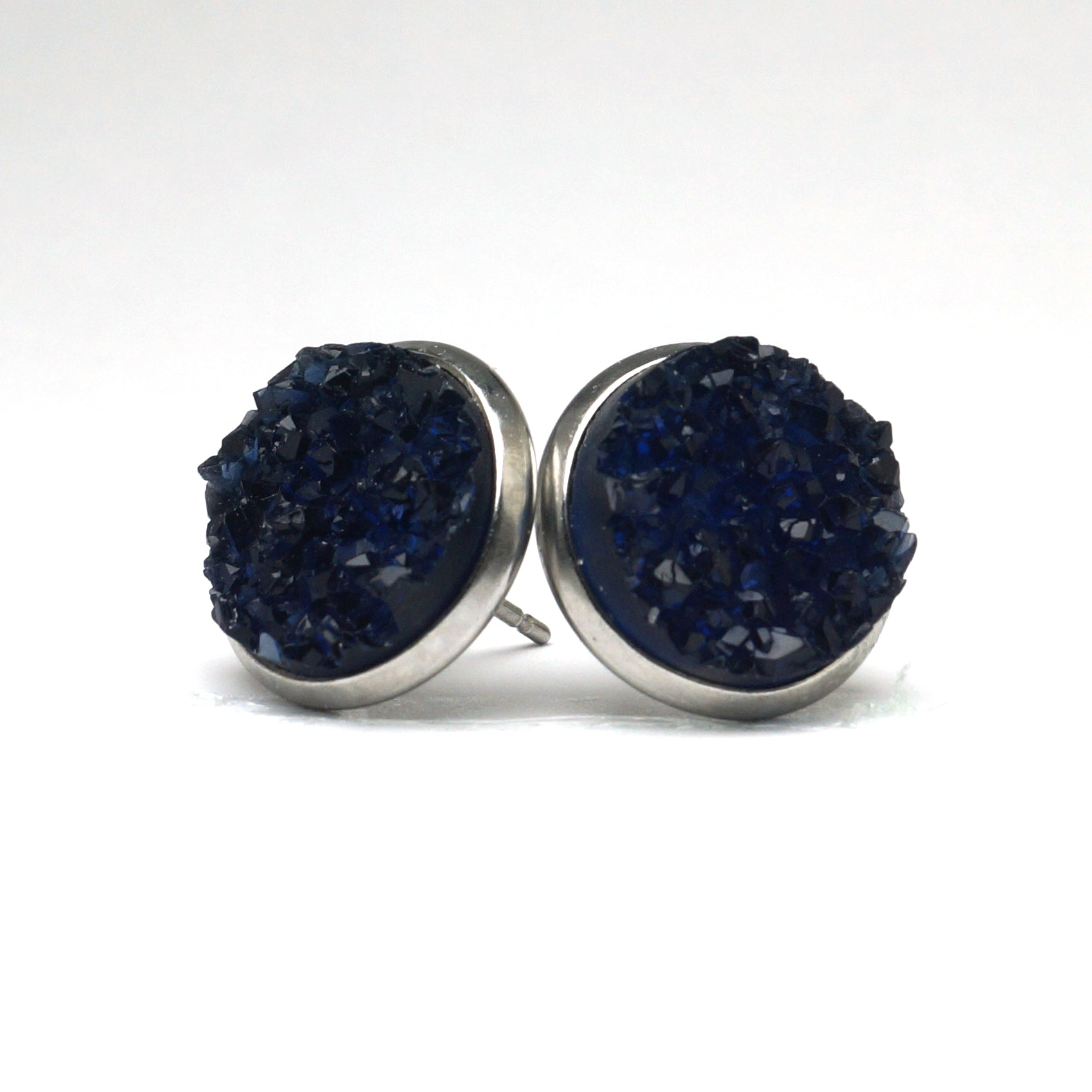 Blue Parula Druzy Stud Earrings  (14mm)