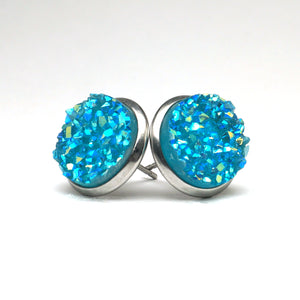 Turquoise Pigeon Druzy Stud Earrings  (14mm)