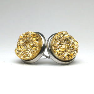 Golden Canary Druzy Stud Earrings (14mm)