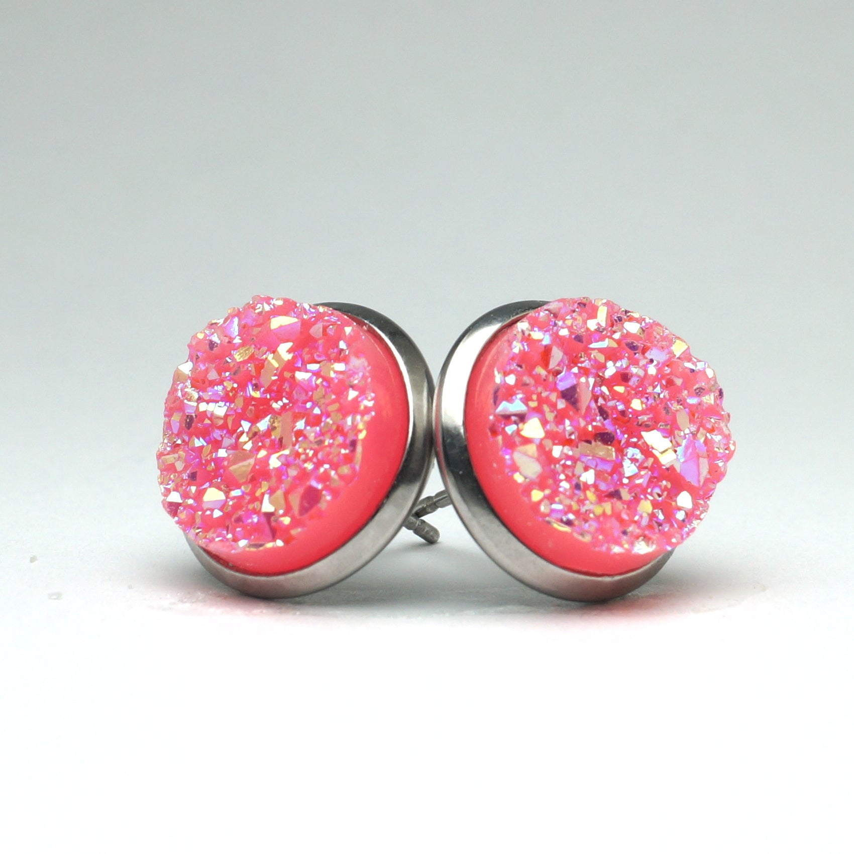 Pink Flamingo Druzy Stud Earrings  (14mm)