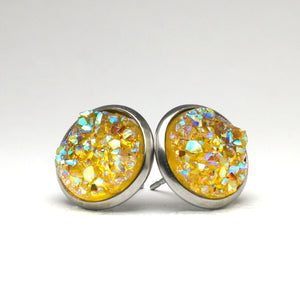 Yellow Rail Druzy Stud Earrings (14mm)