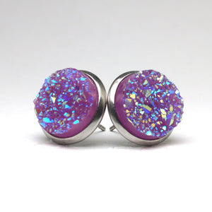 Purple Grenadier Druzy Stud Earrings (14mm)