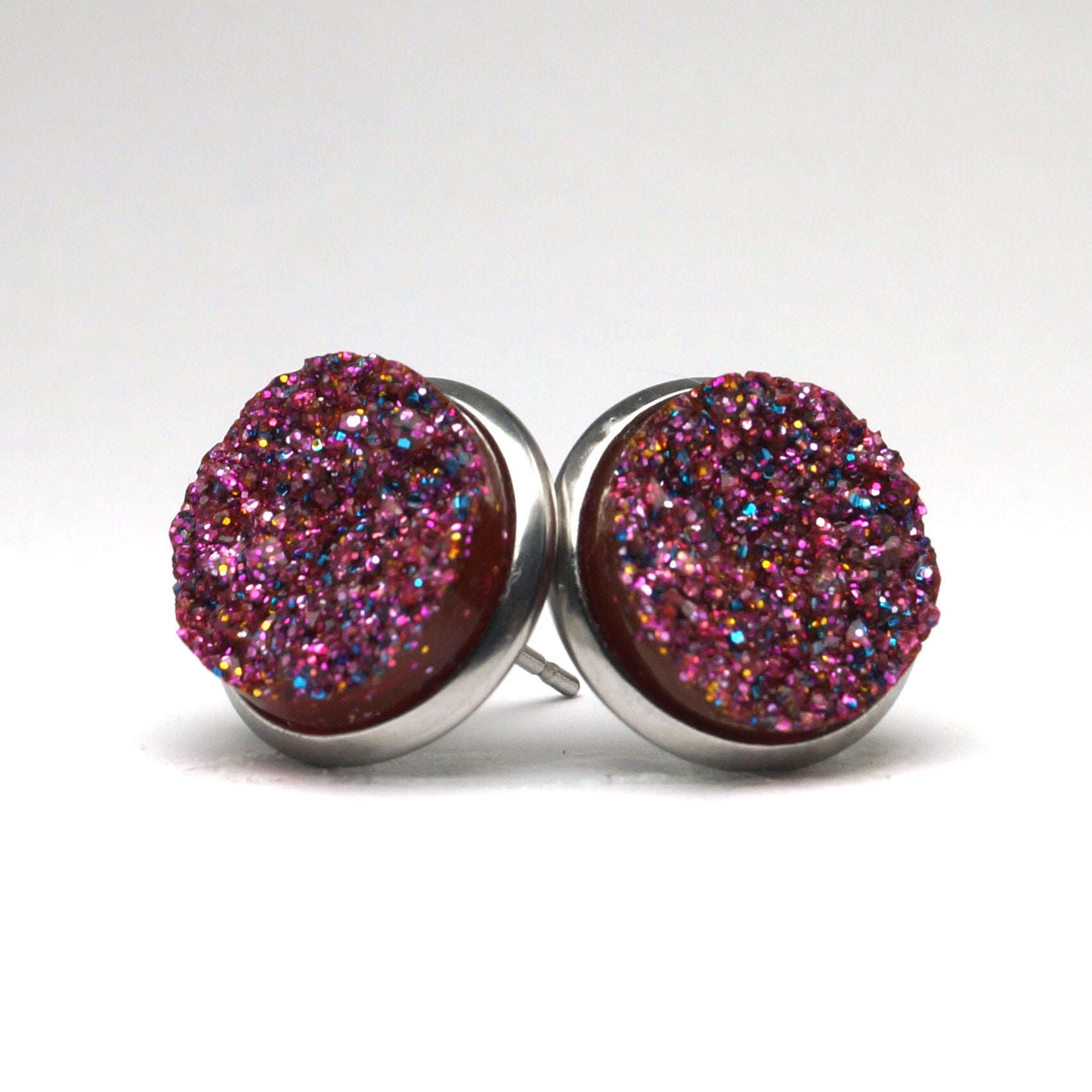 Glittery Purple Druzy Stud Earrings (14mm)