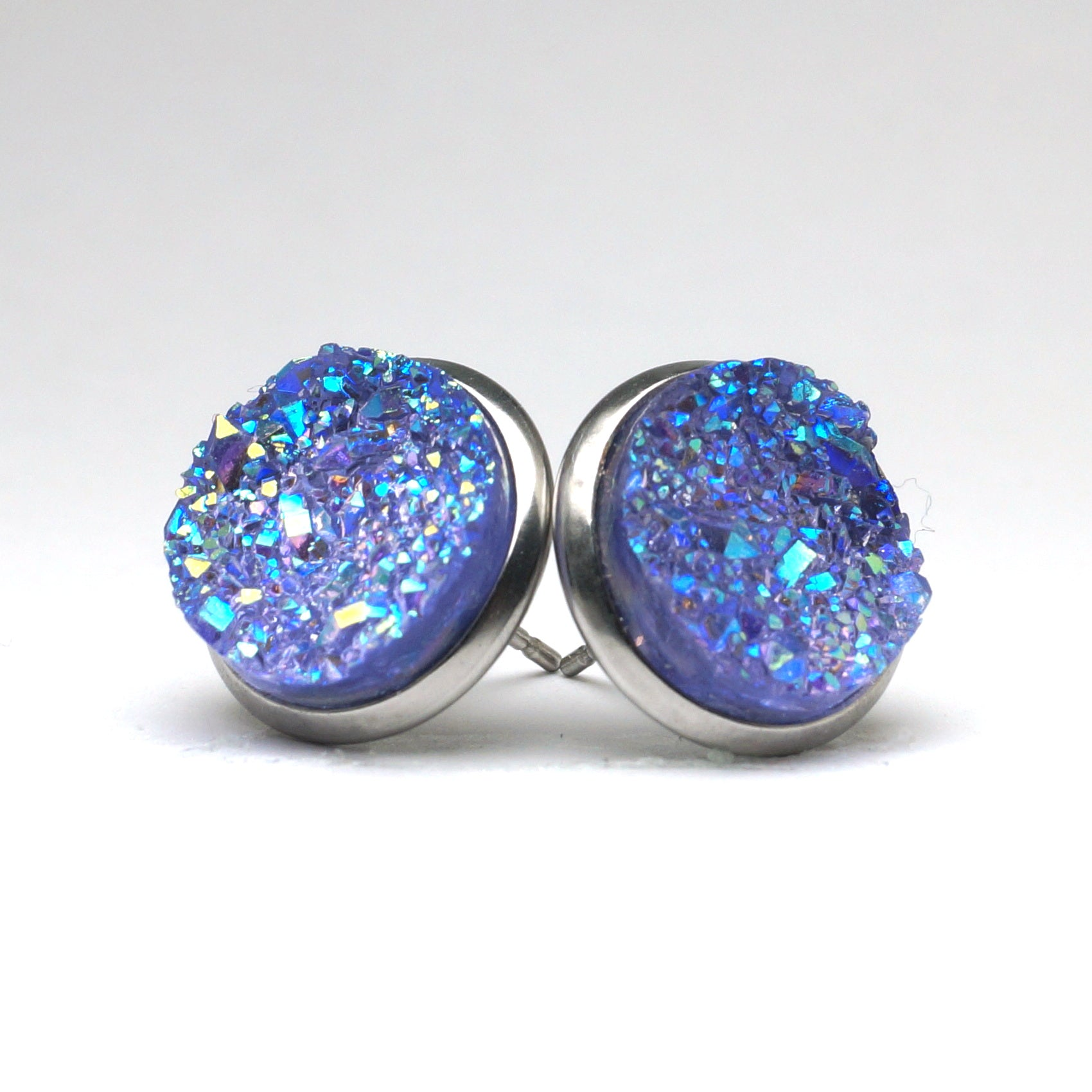 Purple Spoonbill Druzy Stud Earrings  (14mm)