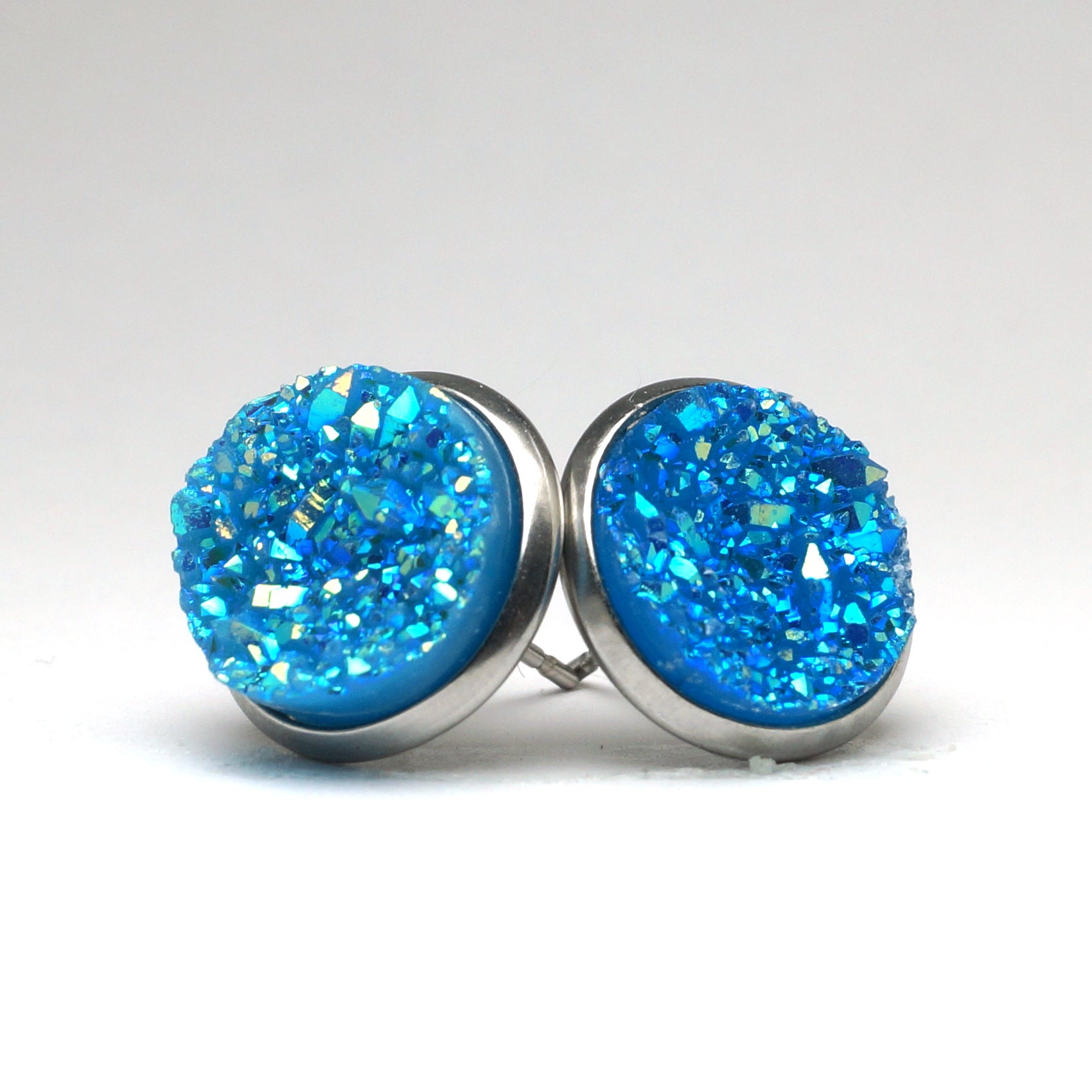 Lake Blue Druzy Stud Earrings (14mm)