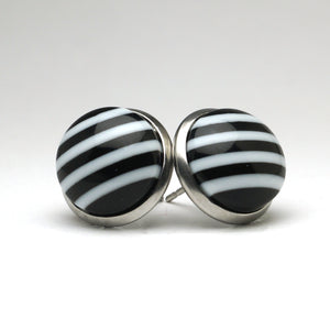 Black Chevron Stud Earrings (14mm)