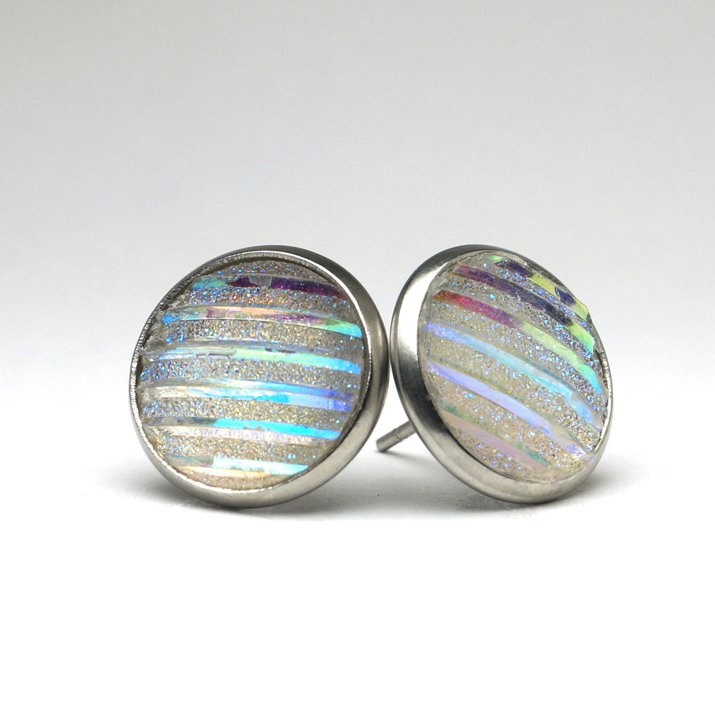 White Rainbow Stud Earrings (14mm)