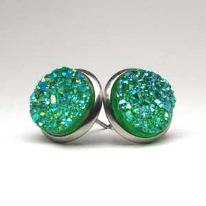 Green Parakeet Druzy Stud Earrings (14mm)