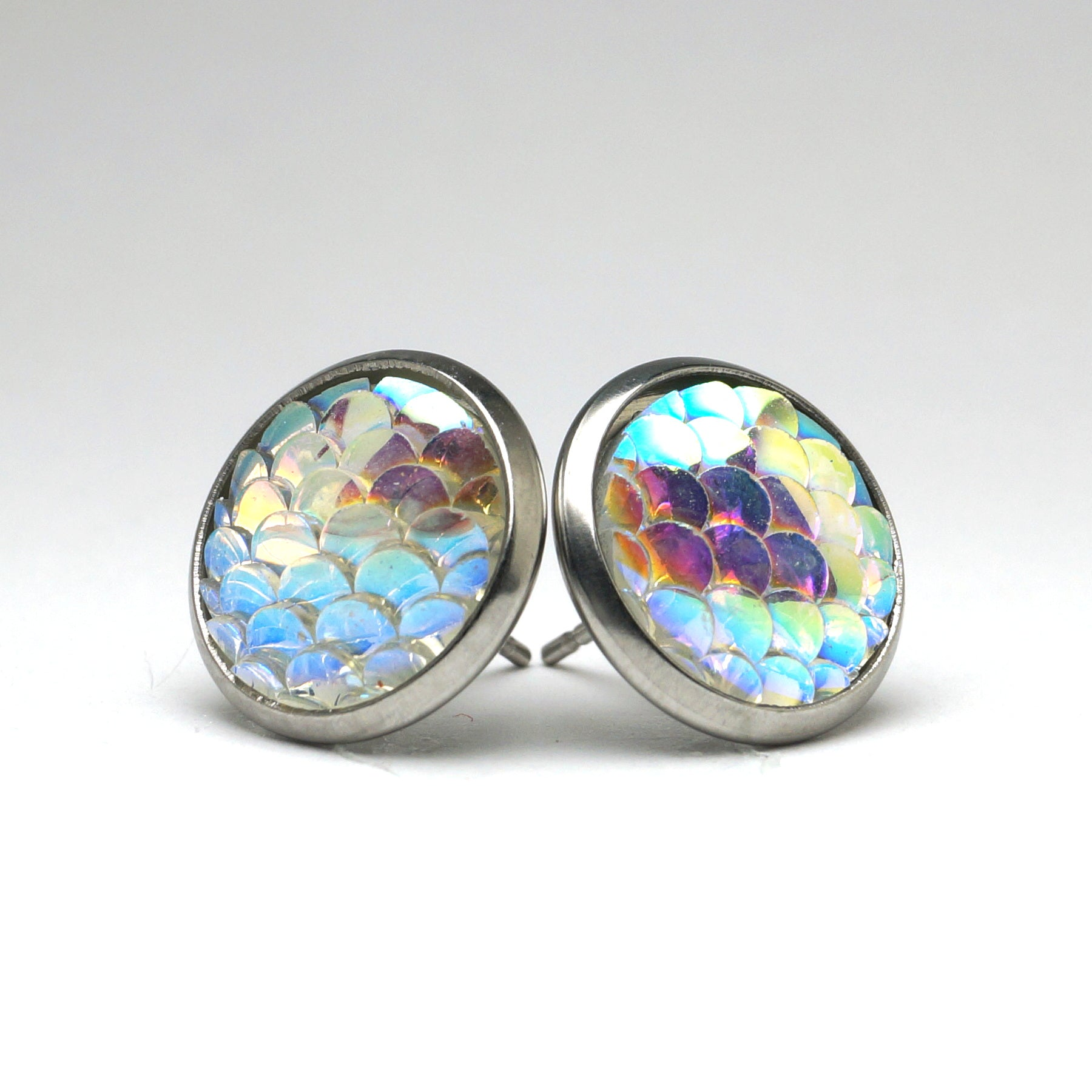 Clear Mermaid Scale Stud Earrings (14mm)