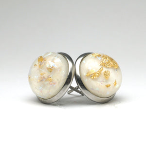 White Foil Stud Earrings (14mm)