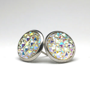 White Hawk Stud Earrings (14mm)