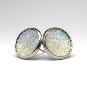 White Dove Druzy Stud Earrings  (14mm)