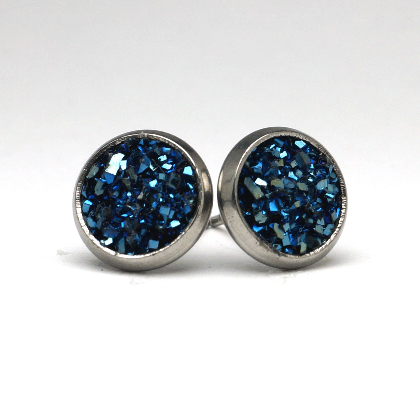 Deep Blue Druzy Silver Tone Stud Earrings  (10mm)
