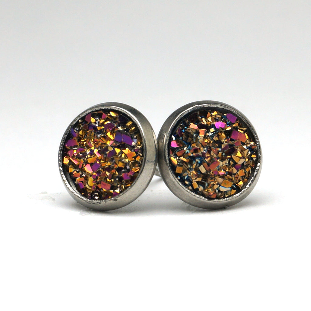 Fuchsia Druzy Silver Tone Stud Earrings  (10mm)