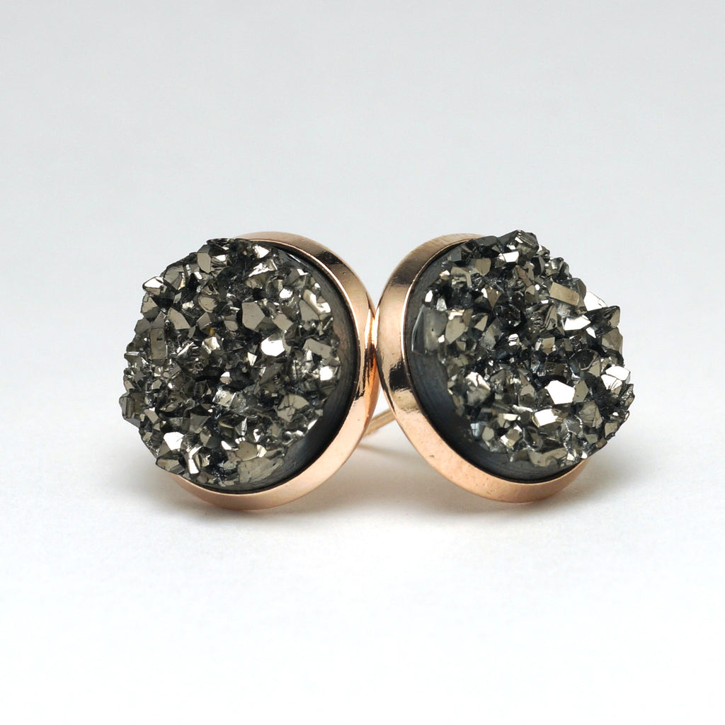 Grey Merlin Druzy Stud Earrings (14mm)