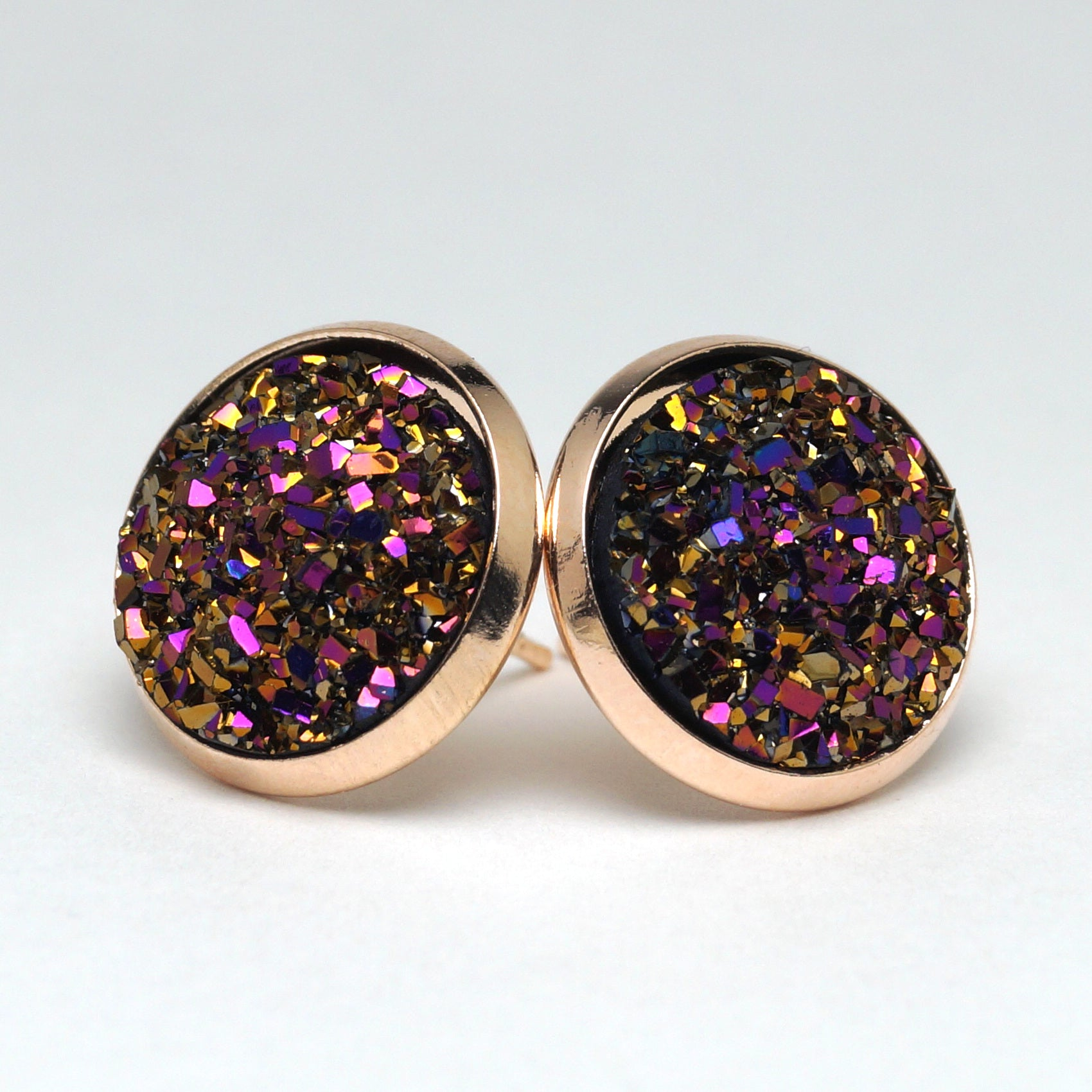 Purple Woodnymph Druzy Stud Earrings (14mm)