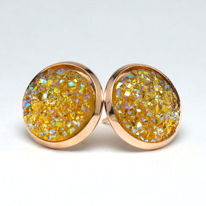 Yellow Chat Druzy Stud Earrings  (14mm)