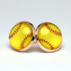 Yellow Baseball Stud Earrings (14mm)