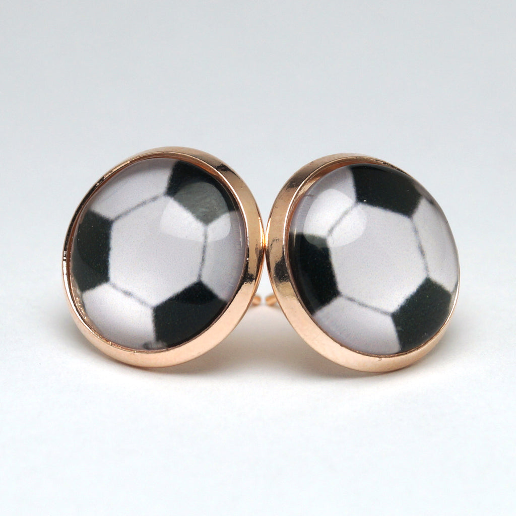 White Football Stud Earrings (14mm)