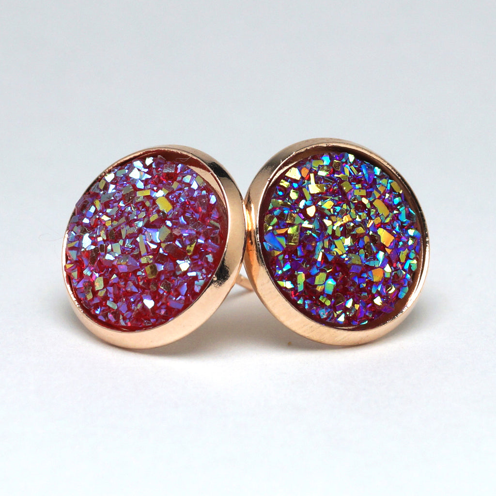 Purple Martin Druzy Stud Earrings  (14mm)