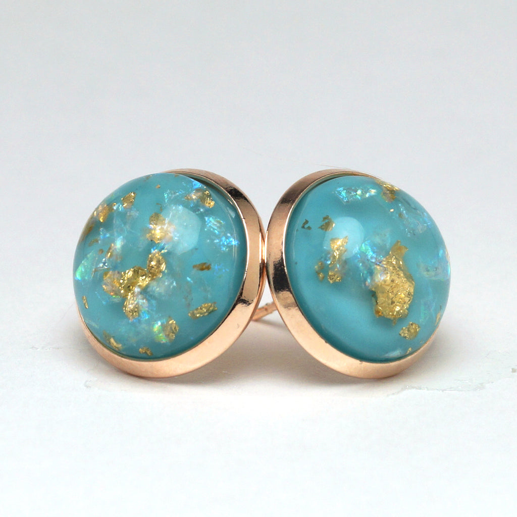 Blue Foil Stud Earrings (14mm)