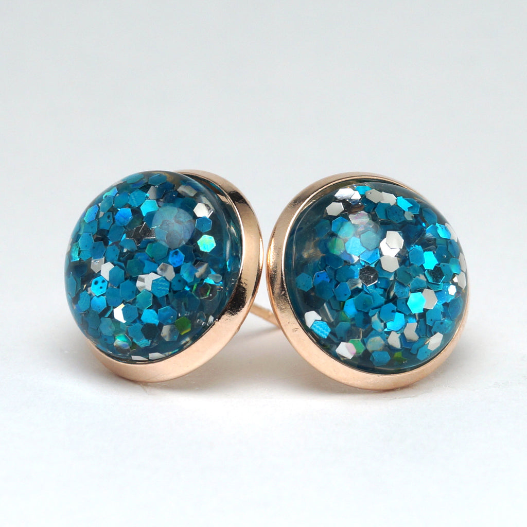 Blue Glitter Stud Earrings (14mm)