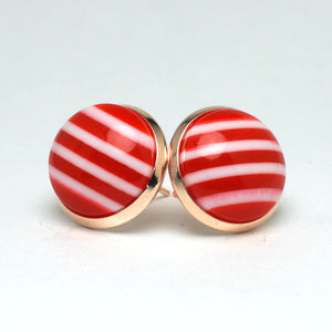 Red Chevron Stud Earrings (14mm)