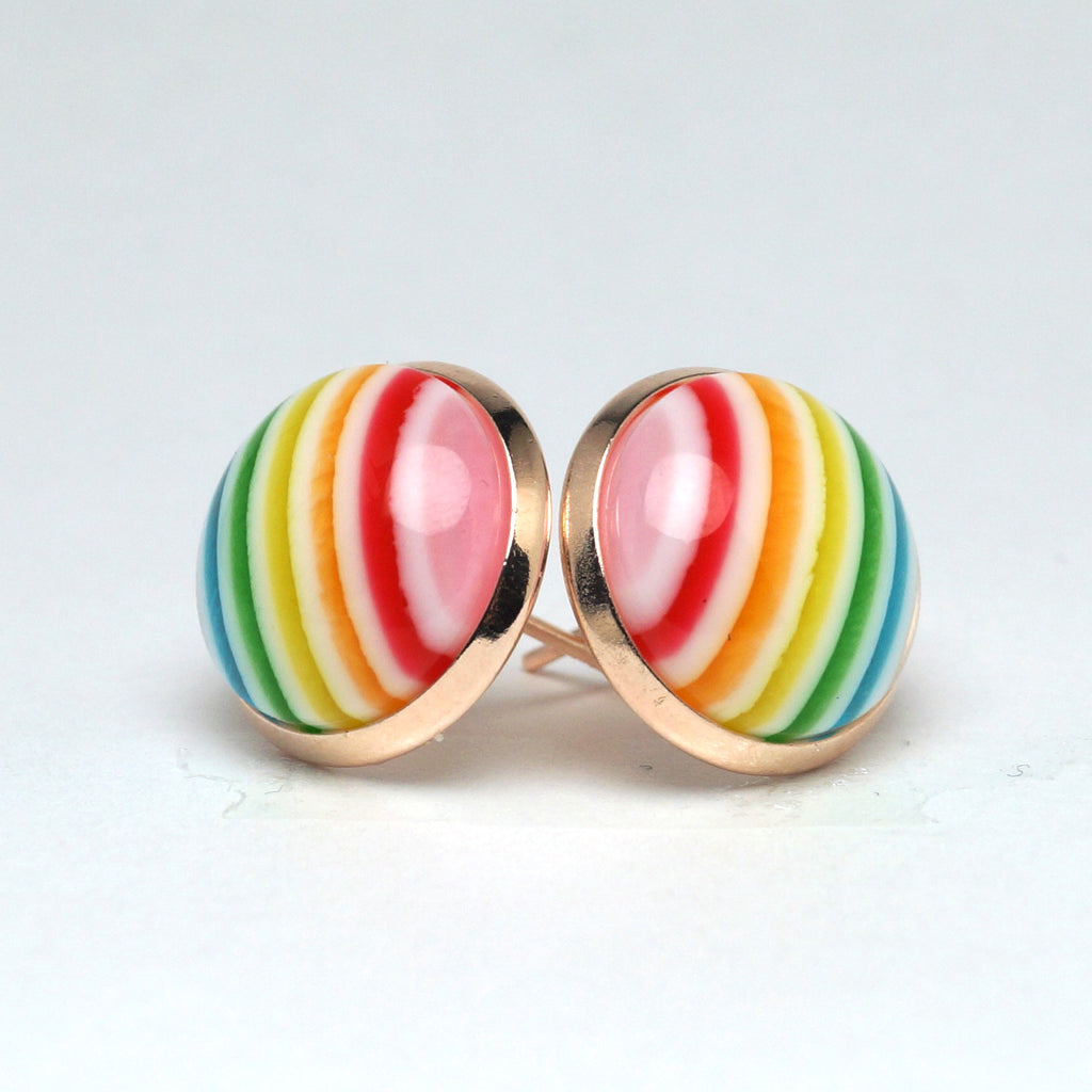 Rainbow Chevron Stud Earrings (14mm)