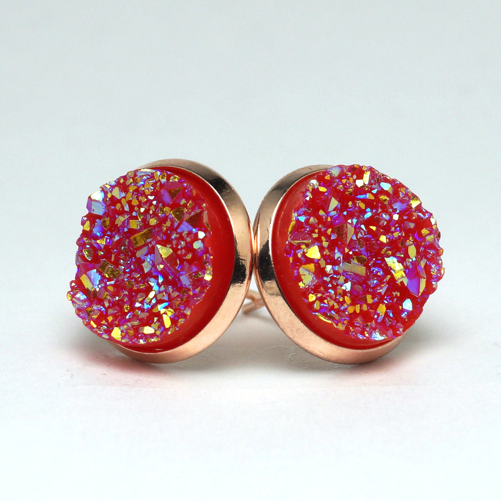 Pink Crossbill Druzy Stud Earrings  (14mm)