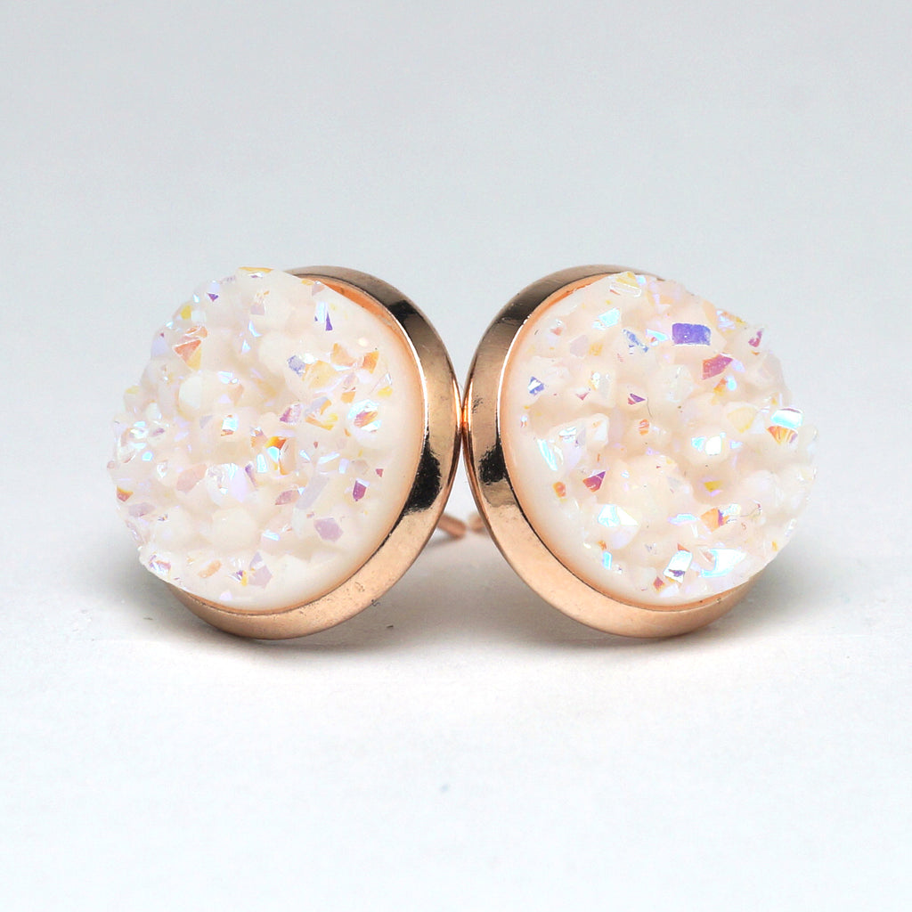 White Swan Druzy Stud Earrings  (14mm)